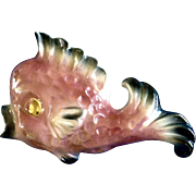 1950's Ceramicraft Tropic Treasures Pink Fish Ceramic Wall Pocket Rainbow Glaze Finish