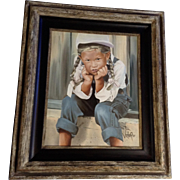 Victor, Little Mad Tomboy Pouting Country Girl Figural, Portrait Realism Oil Painting on Canvas, Signed by Artist
