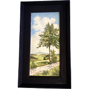 S. Schick, Tree on the Path in Vogtland, Germany Oil Painting on Canvas Laid on Board Signed by Artist