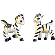 Adorable Zebra Salt & Pepper Shakers New Hampshire Souvenir Mid-Century Japan Ceramic Figurines