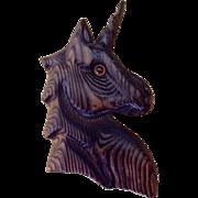 Decorative Vintage Wood Carving Unicorn Folk Art Wall Decor Animal Figure 1970's