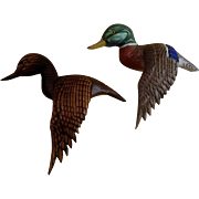 Decorative Vintage Wood Carving Mallard Ducks Folk Art Wall Decor Animal Figure 1970's