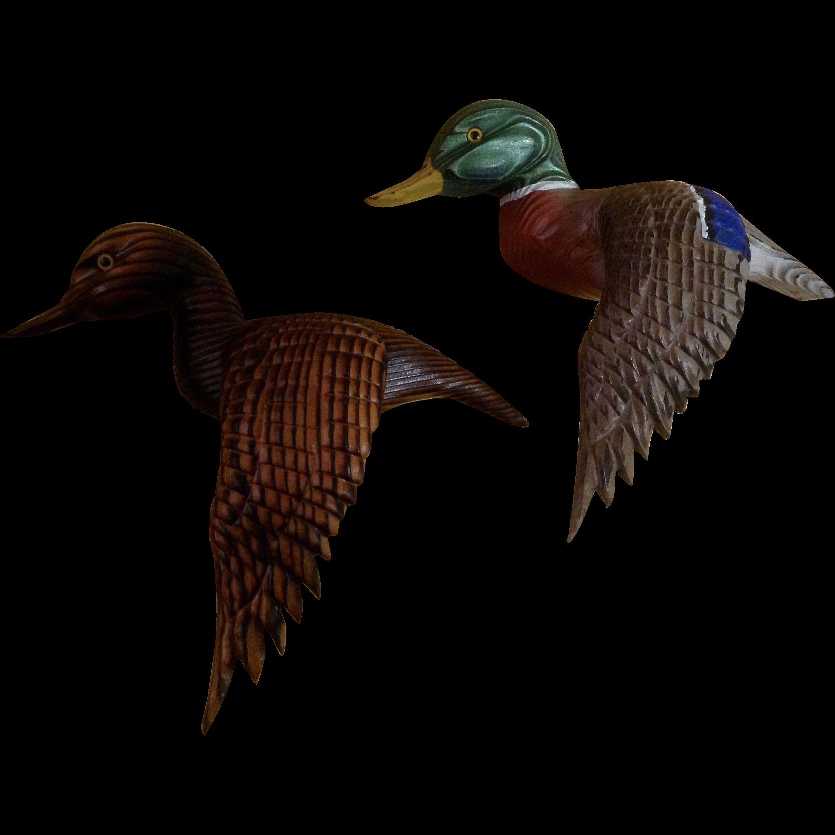 Decorative Vintage Cryptomeria Wood Carving Mallard Ducks Folk Art ...