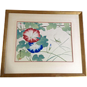 Japanese Wood Block Print Batta Grasshopper near Petunia Flowers Signed by Artist