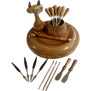 Oliv-art Cat Olive Wood Hors D'oeuvres Appetizer Snack With Utensils Made in Spain 1950's and Wood Nut Bowl Set