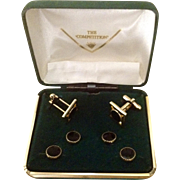 Vintage The Competition, Black and Gold Tone Cufflinks and Button Stud set in Original Green Felt Box