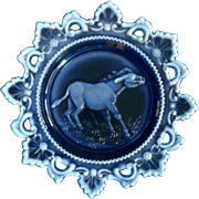Westmoreland Milk Glass Blue Plate Embossed Donkey Mule in Decorative Rim