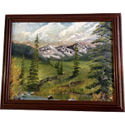 Mountain Meadow Oil Painting on Canvas Signed by Artist