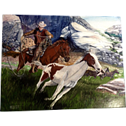 Larry Heller, Oil Painting on Canvas Board, High Country Wild Horse, Pony Roundup, Signed by Artist