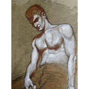 Robert Etz, Study of a Male Painter, Mixed Media Watercolor and Pencil Drawing Signed by Artist