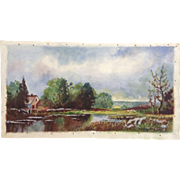 Norine Hernoon Country Pond With Sheep Herders Wagon And Sheep In a Field Watercolor Painting Works on Paper Signed by Artist