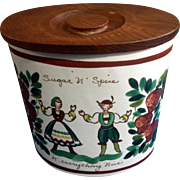 Bauer USA Pottery Sugar N Spice N Everything Nice Austrian Children Dancing and Strawberries Folk Art Cookie Jar 1930-1940
