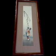 Koho Shoda (1870-1946) Japanese Woodcut Woodblock Art Print Lady Hanging A Tribute Article in a Tree