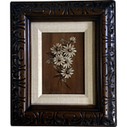LaPlant, White Daisy Flowers Oil Painting on Canvas Board Made to look like wood background Signed by Artist Art