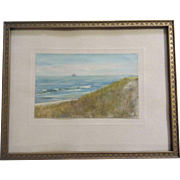 El Olmsted, Sailboat by the Coast, Small Watercolor Painting Works on Paper Signed by Artist