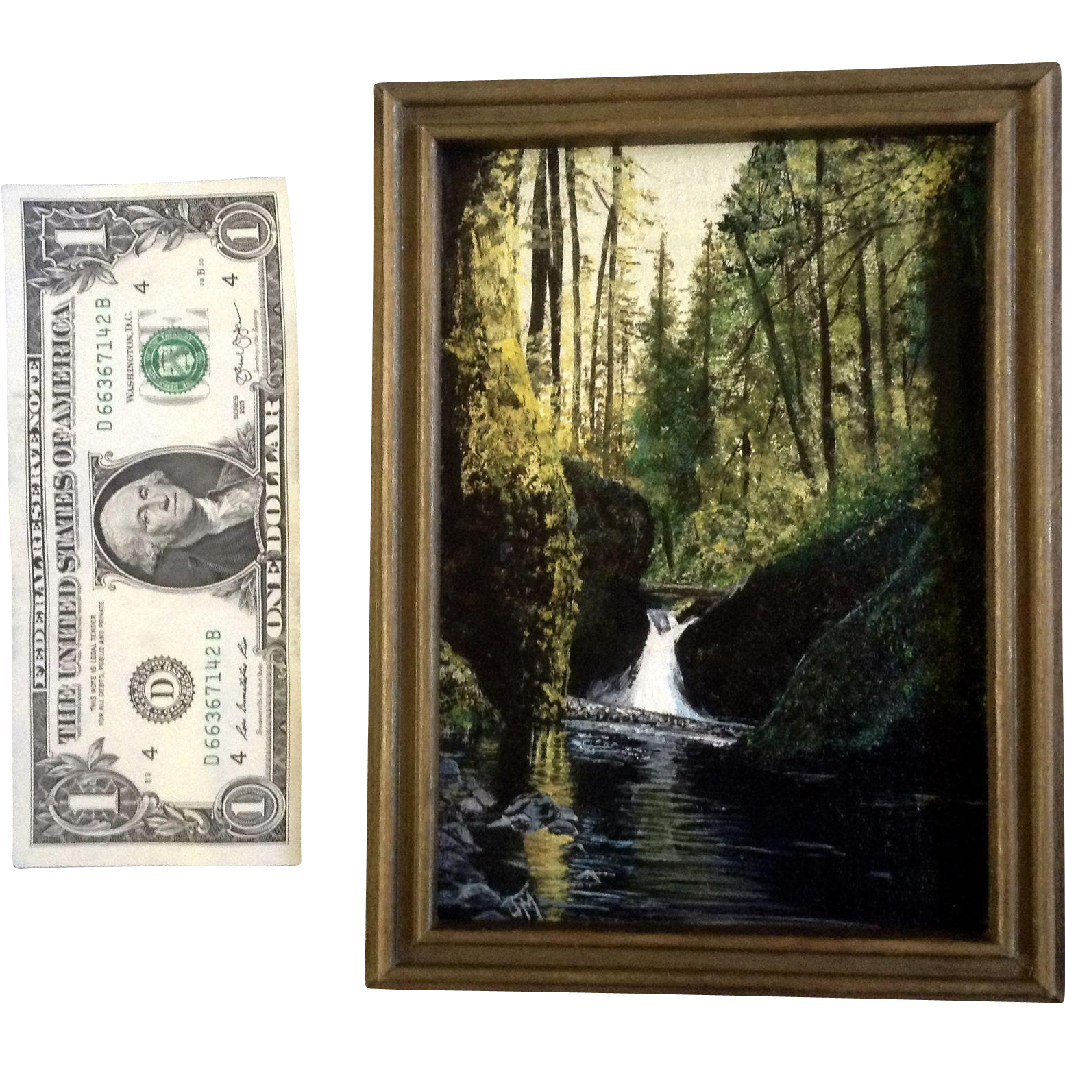Forest with waterfall small oil painting on canvas board for Small canvas boards