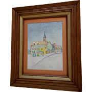 Vicki Mitechler, Snowy Street Scene At Christmas Time, Primitive Watercolor Painting Signed by Artist