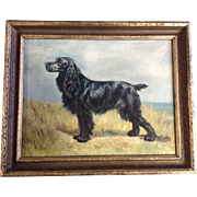 E Pool, Black Longhair Cocker Spaniel Dog Art Oil Painting on Canvas Signed by Artist