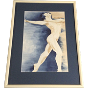 Marie Meyer, Man Ballet Dancer Watercolor Painting Works on paper Signed By Artist
