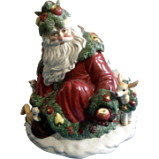 Fitz & Floyd Woodland Santa Cookie Jar Limited Edition 1991 Retired FF Ceramic