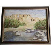 Babe Scoggin, Taos Pueblo in northern New Mexico, Adobe Apartment Homes Oil Painting on Masonite Signed by Artist