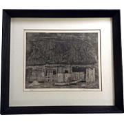 Tanaka Ryohei  (1933 - Present) Ruined House No. 1, 1966 Japanese Etching Limited Edition Print Signed By Listed Artist