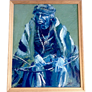 Old Indian Chef Portrait Wearing a Blanket Holding His Bow, Oil Painting on Board Signed by Artist, Skip