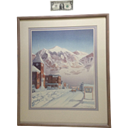 Jacqueline Peppard (born 1954) NWS Mountain Town in Colorado Limited Edition Lithograph 1/50 Dated 1988 Signed by Listed Artist