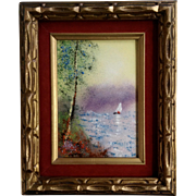 Fleming, Enamel On Copper Metal Plate Art Painting Sailboat Signed by Artist