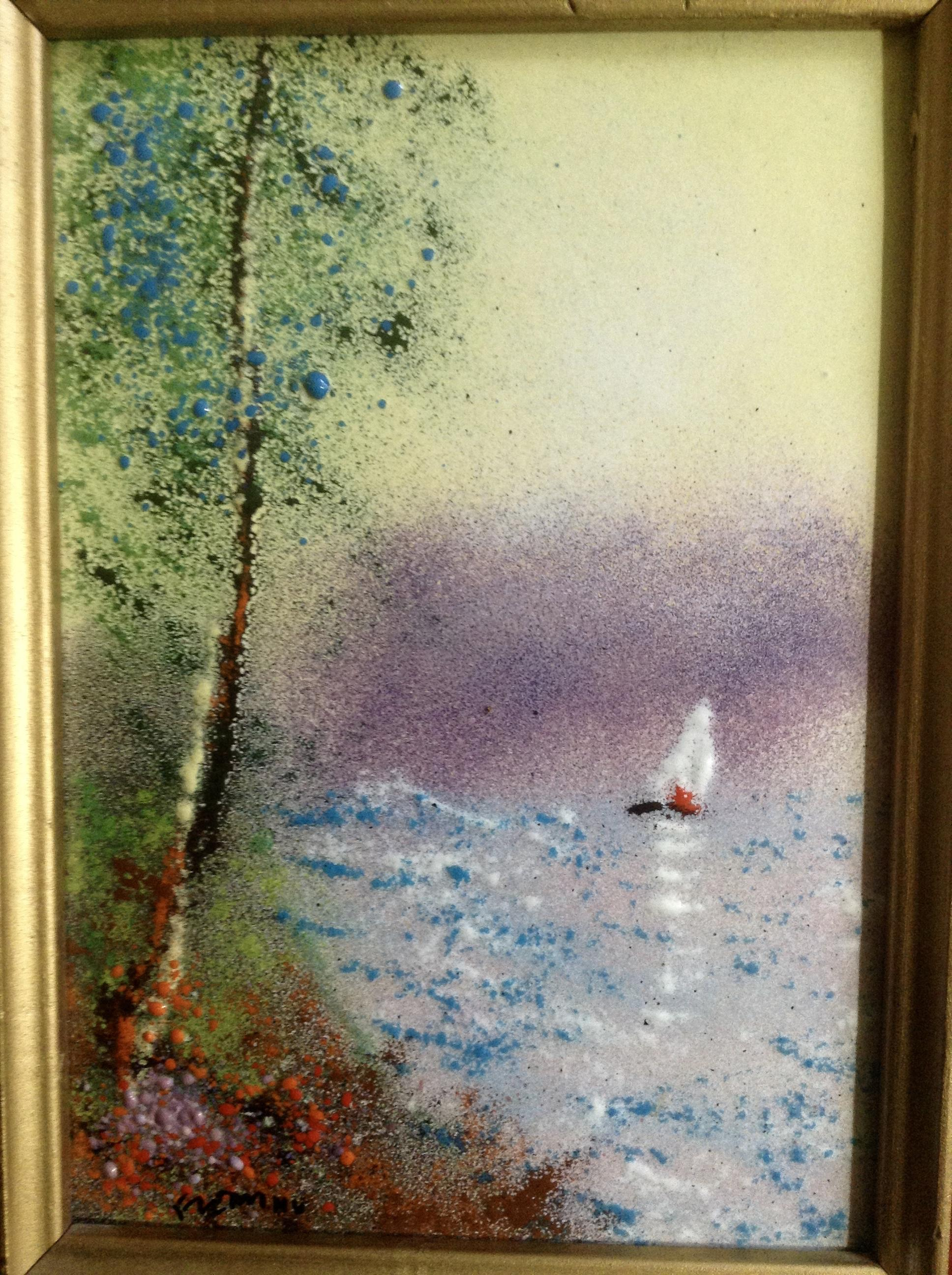 fleming enamel on copper metal plate art painting sailboat signed