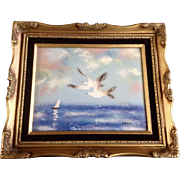 Fleming, Enamel On Copper Metal Plate Art Painting Seagulls And A Sailboat Signed by Artist