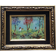 Fleming, Enamel On Copper Metal Plate Art Painting Two Girls Playing In Forest Signed by Artist