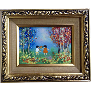 Fleming, Enamel On Copper Metal Plate Art Painting Boy And Girl Playing Signed by Artist