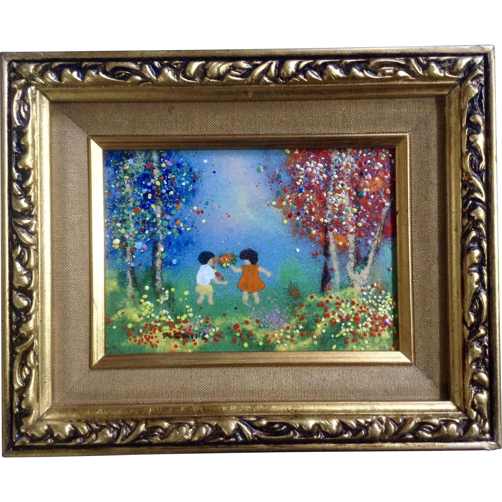 Fleming, Enamel On Copper Metal Plate Art Painting Boy And