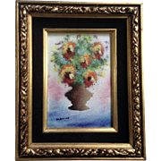 Fleming, Enamel On Copper Metal Plate Art Painting Bouquet of Flowers in A Vase Signed by Artist