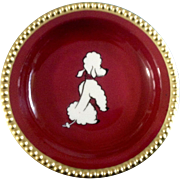 "Vintage Konigl pr. Tettau French Poodle Dog 4"" Plate Gold Colored Rim Made in Germany"