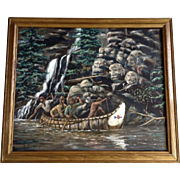 L. Everett, Camouflage Art Indian Spirits in the Rocks Oil Painting on Canvas Signed By Artist