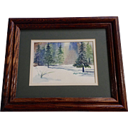 Myra Maxwell, Watercolor Painting, Snowing in a Forest, Works on Paper Signed by Artist