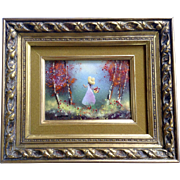 Fleming, Enamel On Copper Metal Plate Art Painting Girl With basket Of Flowers In Forest Signed by Artist
