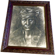 Patricia Jantzen, Charcoal Pencil Sketch Portrait of an Indian Works on Paper Signed by Artist
