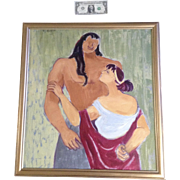 Edith Lake Kruse (1930-2001), Samson And Delilah Oil Painting on Canvas Signed by the Artist Painted 1950
