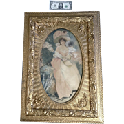 L Walker, 19th Century Watercolor Painting Portrait of a Lady in Pink Dress Works on Paper Signed by Artist