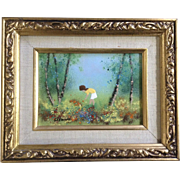Fleming, Enamel On Copper Metal Plate Art Painting Girl Orange Wildflowers In A Forest Signed by Artist