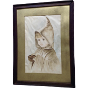 19th Century Beautiful Hooded Girl Watercolor Painting Works On Paper