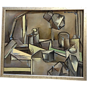 Klaudiusz Jedrusik, Cubism Mixed Media Acrylic Oil Titled Still-life Claudius Jędrusik (1928-1986) Signed by Listed Artist