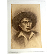 Walden, Portrait of a Worker Works on Paper Art Conte Pencil 1971 Signed By Artist