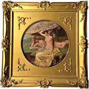 James Thorpe Flaherty (1836 - 1904) 19th Century Figural Oil Painting on Board, Listed Pennsylvania Artist, Original Nude Girls Bathing in Gilded Frame