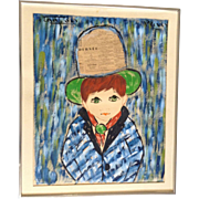 Francois Paris, French Big Eye Boy Mixed Media Painting 1960's Newspaper Decoupage Signed by Artist