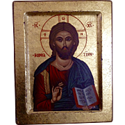 Vintage Byzantine Greek Orthodox Gilded Wood Icon Jesus Christ Print With Certificate