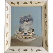 M Barnes, Cute Kitten In A Teacup, Cat Oil Painting On Canvas Panel Signed by Artist